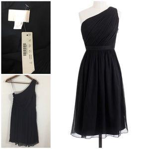 J.Crew Kylie Black Silk Chiffon Dress. 2. NWT